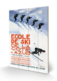 Ecole de ski de la Côte d'Azur - Affiche vintage Panneau en bois par Simon Garnier