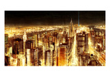 Manhattan Panoramic Nocturne Print by Christopher Farrell