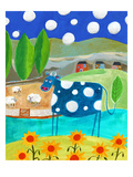 Blue Cow Giclee Print by Nathaniel Mather