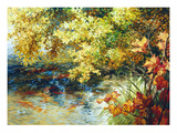 Creek and Fall Trees Giclee Print by Elizabeth Horning