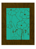 Wenge Wood Floral 4-Teal Giclee Print by Kathleen McCarty