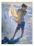 Boy With Boat Premium Giclee Print by John Asaro