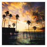 Sunset on the Pier B Premium Giclee Print by  GI ArtLab
