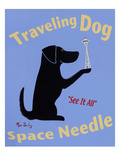 Traveling Dog, Space Needle Giclee Print by Ken Bailey