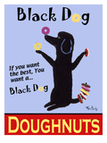 Black Dog Doughnuts Giclee Print by Ken Bailey