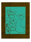 Wenge Wood Floral 3-Teal Giclee Print by Kathleen McCarty