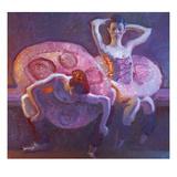 Seated Dancers in Rose Prints by John Asaro