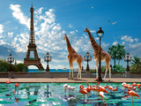 Giraffe Eiffel Bridge Print by Patrick Le Hec´h