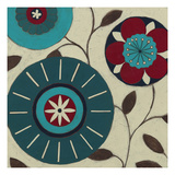 Blue Blossom Fresco IV Kunstdruck von Erica J. Vess