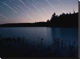 Star Trails at Head Lake, Algonquin Park Canada Stretched Canvas Print by Byron Yu