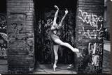 Ballerina In The City Stretched Canvas Print by Byron Yu