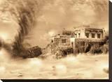 Tornado Ruins Stretched Canvas Print by Yanni Theodorou