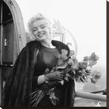 Marilyn with Roses Stretched Canvas Print
