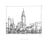 Wire Frame Cityscape II Premium Giclee Print by Ethan Harper