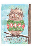 Christmas Owl 4 Prints by Erin Butson