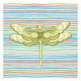 Summer Stripe dragonfly 3 Posters by Nicole Tamarin