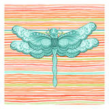 Summer Stripe dragonfly 1 Posters by Nicole Tamarin