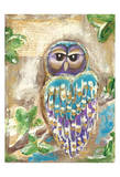 Purple Blue and Gold Owls Prints by Erin Butson