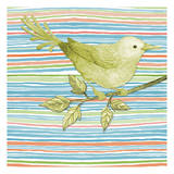 Summer Stripe Bird 3 Prints by Nicole Tamarin