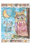 Pastel Owl Family 2 To the Moon and Back Poster van Erin Butson