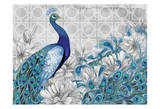 Monochrome Peacocks Grey Art by Nicole Tamarin