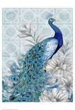 Monochrome Peacocks Blue Print by Nicole Tamarin