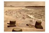 Bradley Beach Sea Gulls Sepia 2 Posters by Donna Sinisgalli