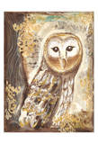Brown, cream, and gold owls Schilderij van Erin Butson