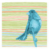 Summer Stripe Bird 4 Posters by Nicole Tamarin