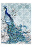 Monochrome Peacocks Blue Poster by Nicole Tamarin