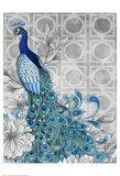 Monochrome Peacocks Grey Posters by Nicole Tamarin