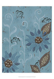Whimsical Blue Floral II Print by Jade Reynolds