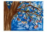 Blue Apple Tree Poster by Sisa Jasper