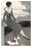 Art Deco Lady With Dog Posters by Megan Meagher