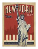 New York, NY (Statue of Liberty) Lámina giclée por Anderson Design Group