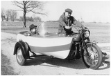 Custom Motorcycle with Boat Side Car Archival Photo Poster Prints