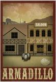Armadillo Retro Travel Poster Posters