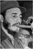 Fidel Castro Smoking Cigar Archival Photo Poster Posters