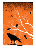 Ravens October Sky Giclee Print by  strawberryluna