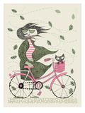 Hipster Girl Bike Reprodukcje autor Methane Studios