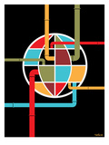 World Globe Giclee Print by Dan Stiles