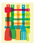 Utensil Stack Giclee Print by strawberryluna