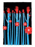strawberryluna - Hands Flowers Skulls Obrazy