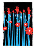 Hands Flowers Skulls Giclee Print by strawberryluna