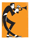 Trumpet Player Poster by  Print Mafia