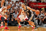 Miami, FL - JUNE 6 Tony Parker and Chris Bosh Photographic Print