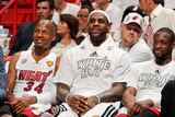 Miami, FL - JUNE 9 Miami Heat players, from left, Ray Allen, LeBron James and Dwyane Wade Photographic Print