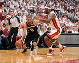 Miami, FL - JUNE 9 Tony Parker and LeBron James Photographic Print