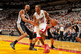 Miami, FL - JUNE 6 Mario Chalmers and Tim Duncan Photographic Print