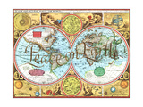 Greeting Card - Peace on Earth, Globe Split in Half Showing the Entire world Giclee Print